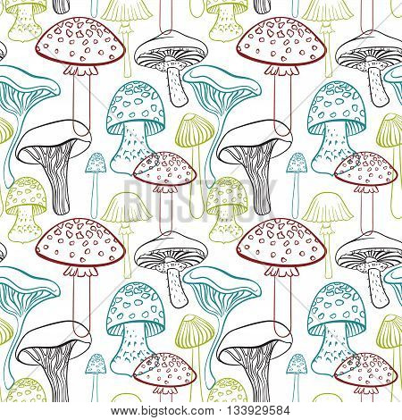 Seamless pattern with different hand drawn mushrooms on white background.