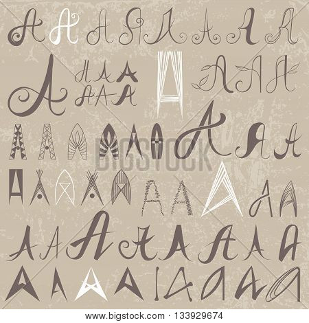 Vintage Set of 50 varied hand drawing letters A on old paper background. Can be used as elements of logo design