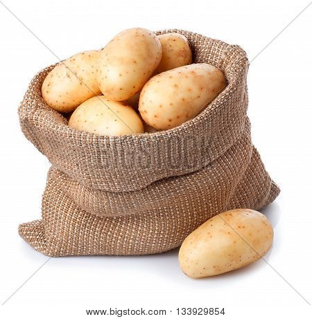 new fresh raw potatoes in bag isolated on white background. Ripe potatoes in burlap sack isolated on white background