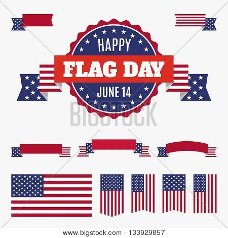 USA flag day badge banners and ribbons isolated on light background. Happy Flag Day June 14 quote. American flag and set of design elements for easy edit. EPS8 Vector illustration.