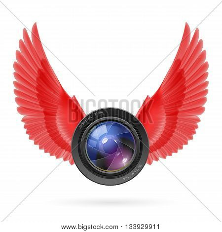 Photo camera lens with red wings emblem