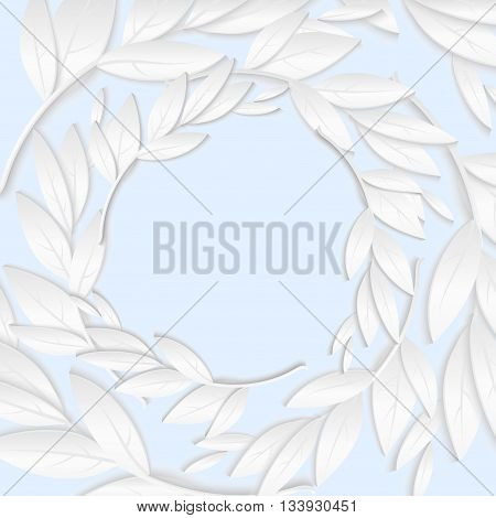 Circular frame of white paper branches and leaves in pastel blue tones