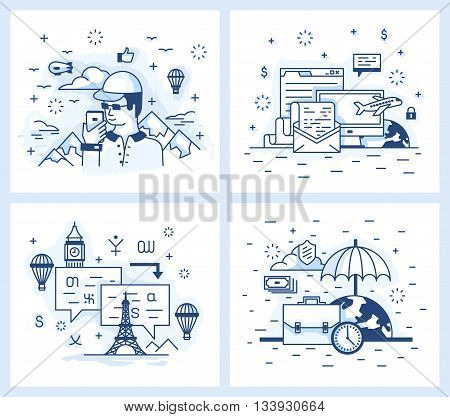 Set of vector illustrations in modern linear style, tourist destinations, vacation and business trip, wound with a Foreign Language.