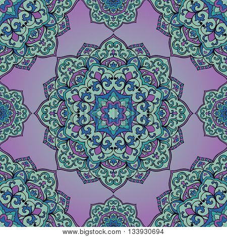 Oriental seamless pattern of mandalas. Vector violet ornament. Template for shawl scarf blanket textile cushion.
