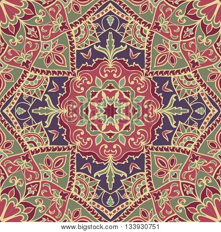 Seamless floral ornamental background. Eastern ornament with beige lines. Template for carpet shawl textile cloth. Oriental vector pattern.