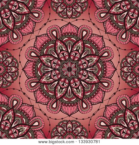 Seamless vector ornate pattern with mandalas. Template for textiles shawl carpet bandana tile. Oriental filigree pink and grey ornament.