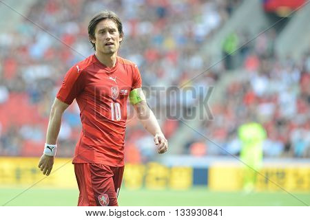 05/06/2015 PRAGUE _ Tomas Rosicky, Capitain of Czech Republic team. Friendly match Czech Reublic - South Korea
