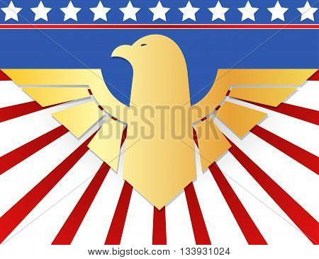 American patriotic design with golden eagle symbol