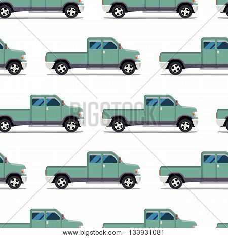 seamless pattern of green pickup truck. Vector illustration