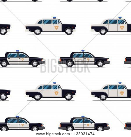 seamless pattern of police cars. Vector illustration