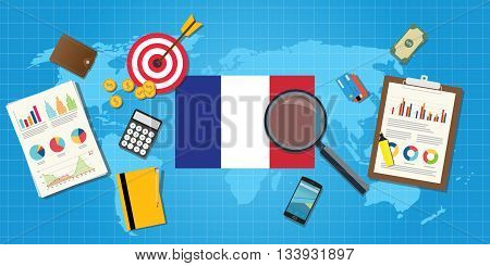 france economy economic condition country with graph chart and finance tools vector graphic illustration