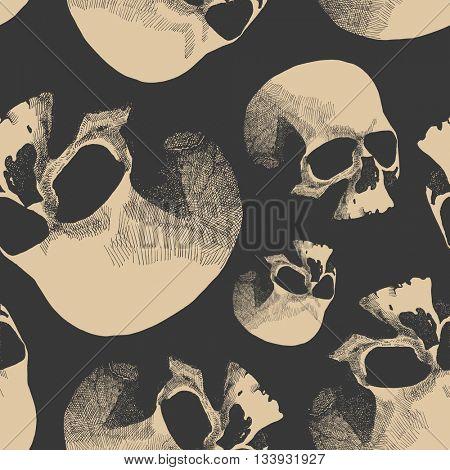 Grunge seamless pattern with skulls. Hand drawn.