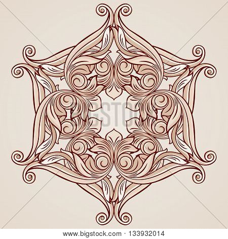 Abstract floral ornament in pastel rose pink tints