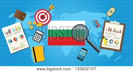 bulgaria economy economic condition country with graph chart and finance tools vector graphic illustration