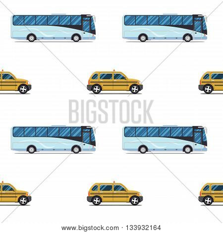 seamless pattern of the cab and passenger bus. Vector illustration