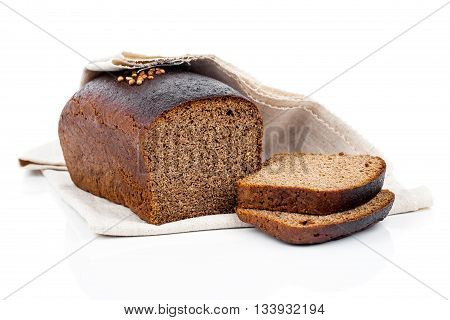 sliced of rye bread isolated on white background
