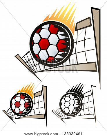 Design of a volleyball scorching over the net.  Comes with full color, flat, and black only versions.