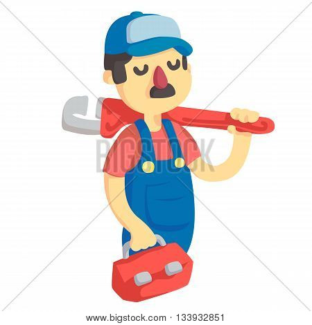 plumber in a cap with a red wrench and a red case
