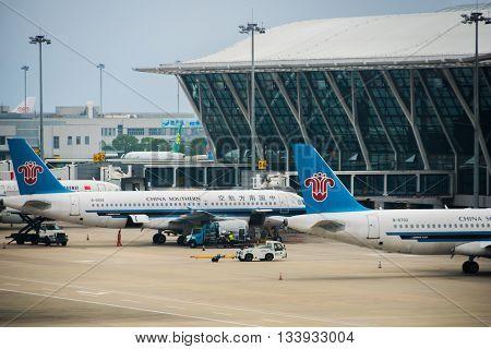SHANGHAI, CHINA -  circa JUNE 2016: China Southern Airlines aircrafts towed at Shanghai Pudong airport.
