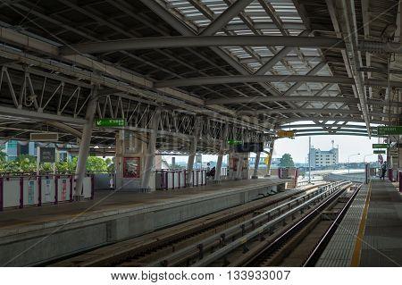 BANGKOK THAILAND -  circa MAY 2016: BTS metro Skytrain station platform in Bangkok, Thailand . BTS or the Skytrain is an elevated rapid transport system in Bangkok Thailand.