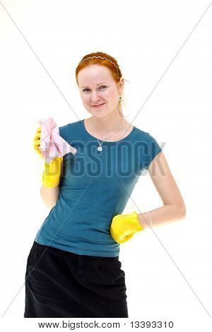Redhead Young Woman Holding A Rag