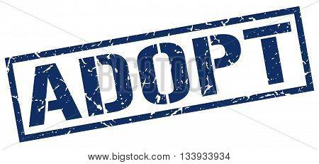 Adopt Stamp. Vector. Stamp. Sign. Adopt. Blue.