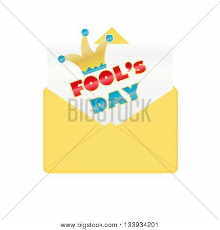 Fools day design envelope. Happy and funny humor celebration, vector illustration