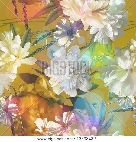 art vintage colored blurred floral seamless pattern with white and gold peonies on gold background. Bokeh effect