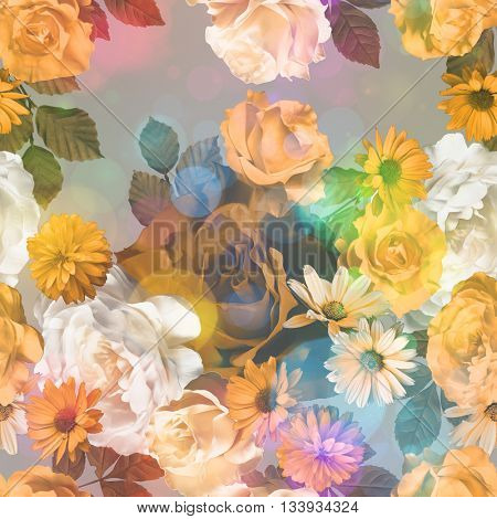 art vintage monochrome gold orange blurred floral seamless pattern with roses, asters and peonies on light background. Bokeh effect