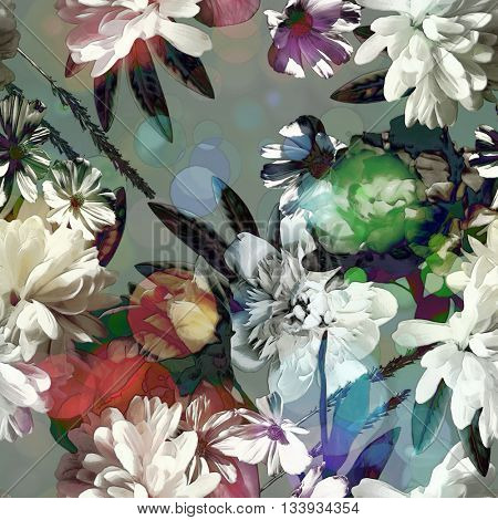 art vintage colored blurred floral seamless pattern with red, green and white roses, asters and peonies on grey  background. Bokeh effect