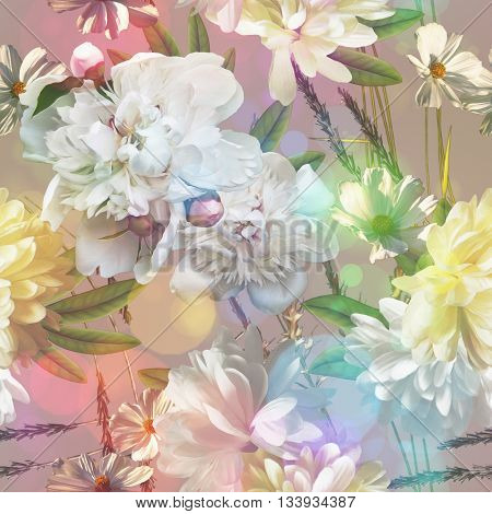 art vintage colored blurred floral seamless pattern with white peonies on light pink grey background. Bokeh effect