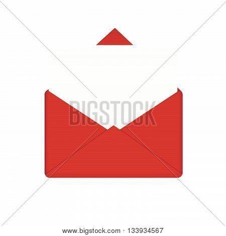 Red envelope with empty paper. Correspondence mail template and personal letter leaflet, vector illustration