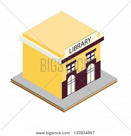 Library building isometric 3d icon. Illustration exterior and facade library vector