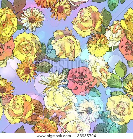 art vintage colored blurred floral seamless pattern with gold yellow, red and white roses, asters and peonies on light blue background. Bokeh effect