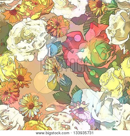 art vintage colored blurred floral seamless pattern with gold yellow, red and white roses, asters and peonies on beige background. Bokeh effect