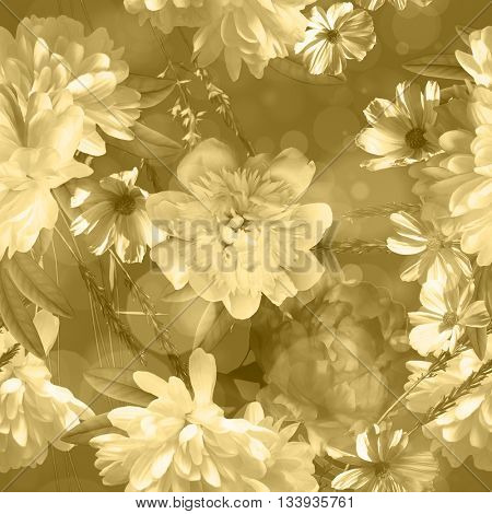 art vintage monochrome blurred floral seamless pattern with white peonies on beige background. Sepia and Bokeh effect