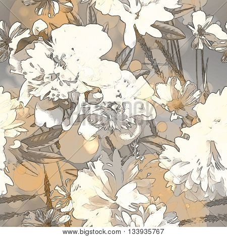 art vintage colored blurred floral seamless pattern with white peonies on light grey and gold background. Bokeh effect
