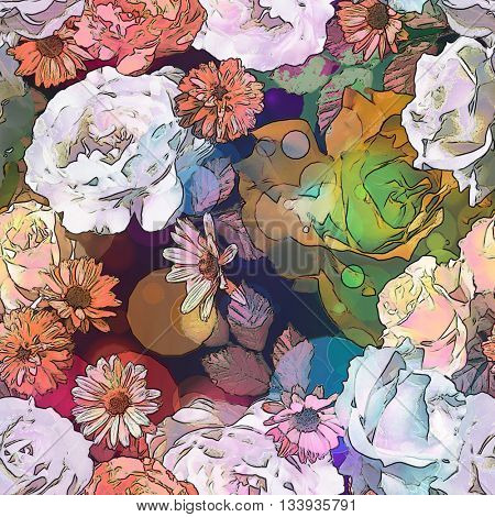 art vintagemonochrome orange brown blurred floral seamless pattern with roses, asters and peonies on dark background. Bokeh effect