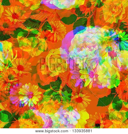 art vintage colored blurred floral seamless pattern with white, gold and red roses and peonies on orange background. Double Exposure effect