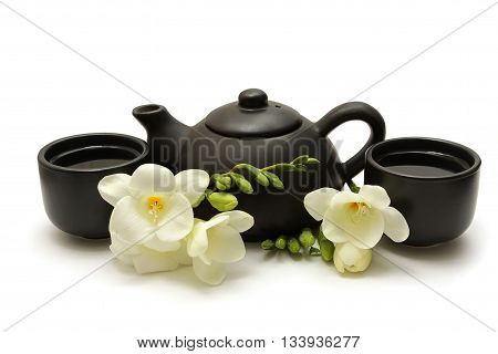Chinese Tea Set with Teapot cups and white flowers