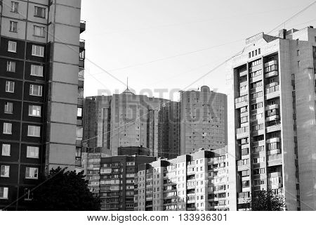 View of the residential building in microdistrict Ribatskoe on the outskirts of St. Petersburg Russia. Black and white.