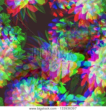 art vintage colored blurred floral seamless pattern with white peonies on dark purple background. Double Exposure effect