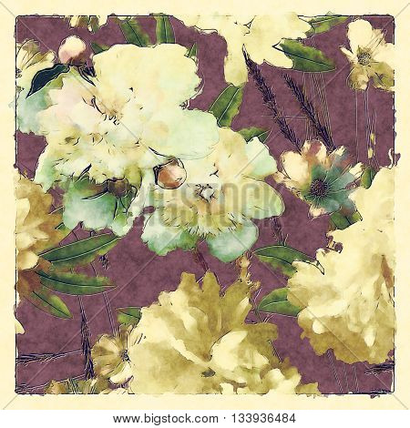 art vintage colored watercolor floral seamless pattern with white and gold peonies and roses, green grass and leaves on dark lilac background in light frame