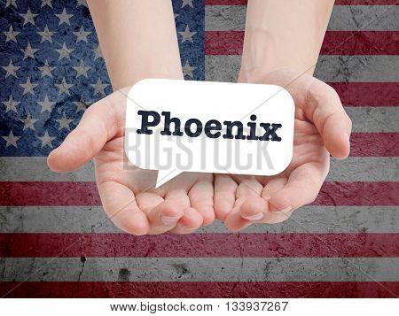 Phoenix written in a speechbubble