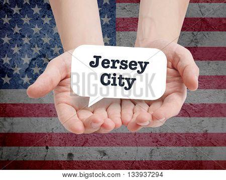Jersey City written in a speechbubble