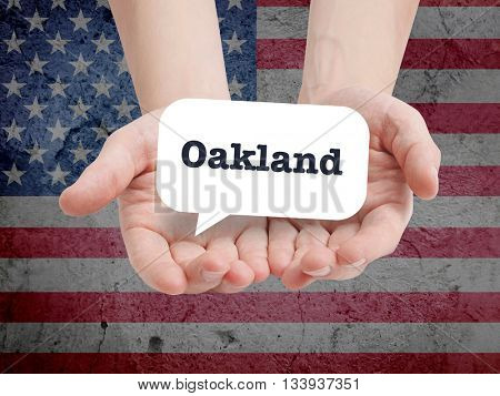 Oakland written in a speechbubble