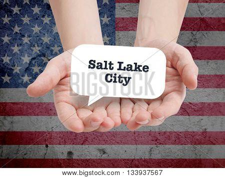 Salt lake city written in a speechbubble