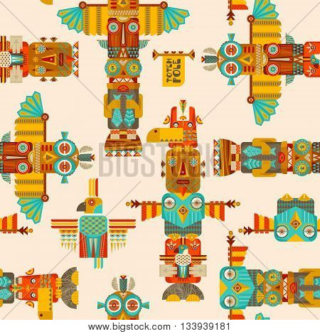 Multi-colored totem poles. Seamless background pattern. Vector illustration