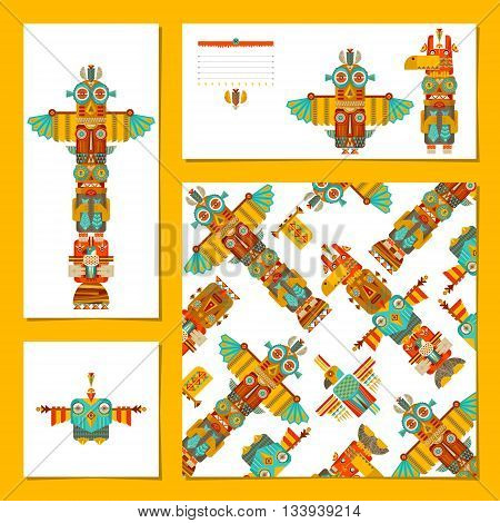 Set of 4 universal cards with totem poles. Template. Party birthday holiday. Vector illustrationIn