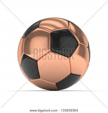 Bronze soccer ball on white background. 3D rendering.